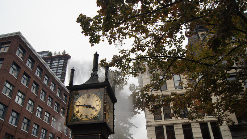 Steam Clock at Gastown Vancouver BC Canada. At Eight AM in the Morning with Sunlight royalty free stock photography