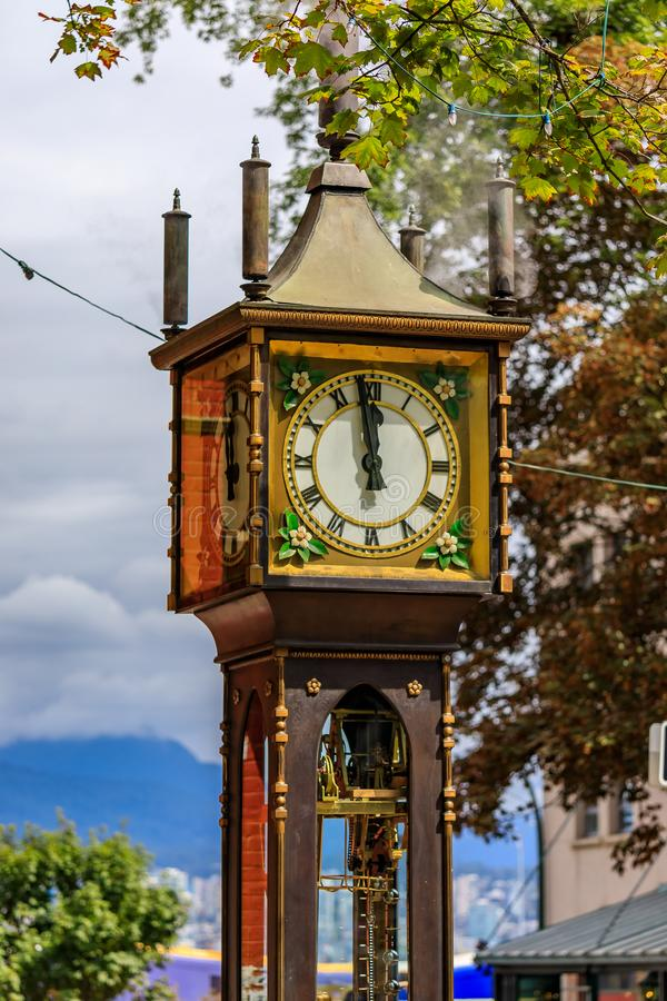 Steam clock in Gastown in Vancouver British Columbia Canada. Steam-powered clock at Gastown, a national historic site in Vancouver, British Columbia British stock image