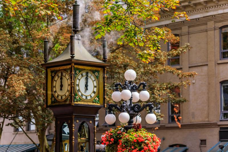 Steam clock in Gastown in Vancouver British Columbia Canada. Steam-powered clock at Gastown, a national historic site in Vancouver, British Columbia British stock photography