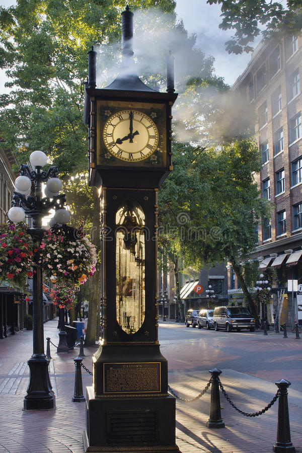 Steam Clock at Gastown Vancouver in the Morning. Steam Clock at Gastown Vancouver BC Canada at Eight AM in the Morning with Sunlight stock photos