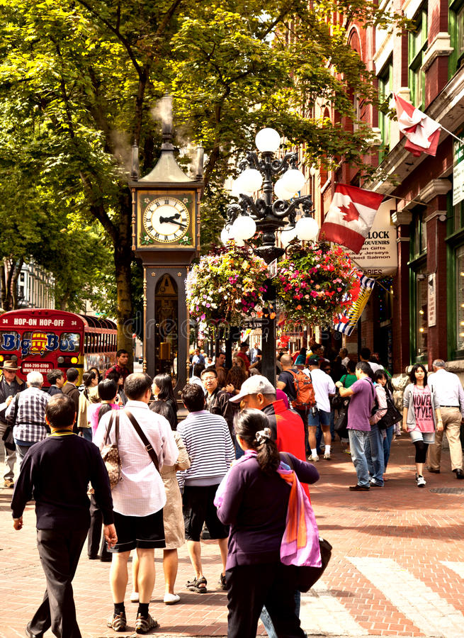Steam Clock, Vancouver, BC, Canada. Raymond Saunders' first steam clock was built in 1977 as a tourist attraction for the renovated Gastown district of Vancouver royalty free stock photos