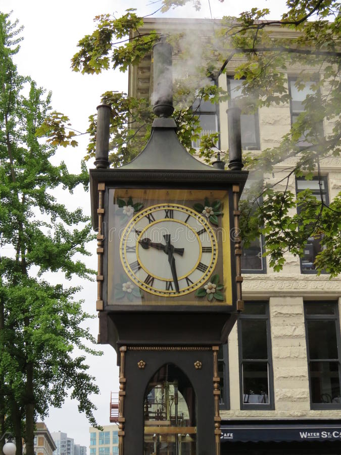 Steam Clock. Vancouver, Canada - May 17th, 2015: The Steam Clock is, as its name suggests, powered by steam. It is located in Gastown, a suberb of Vancouver royalty free stock photos
