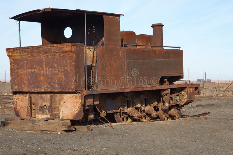 Steam Engine at the Humberstone Saltpeter Works stock photos