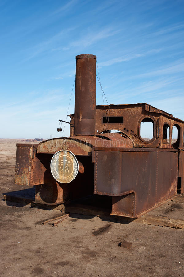 Steam Engine at the Humberstone Saltpeter Works royalty free stock photos
