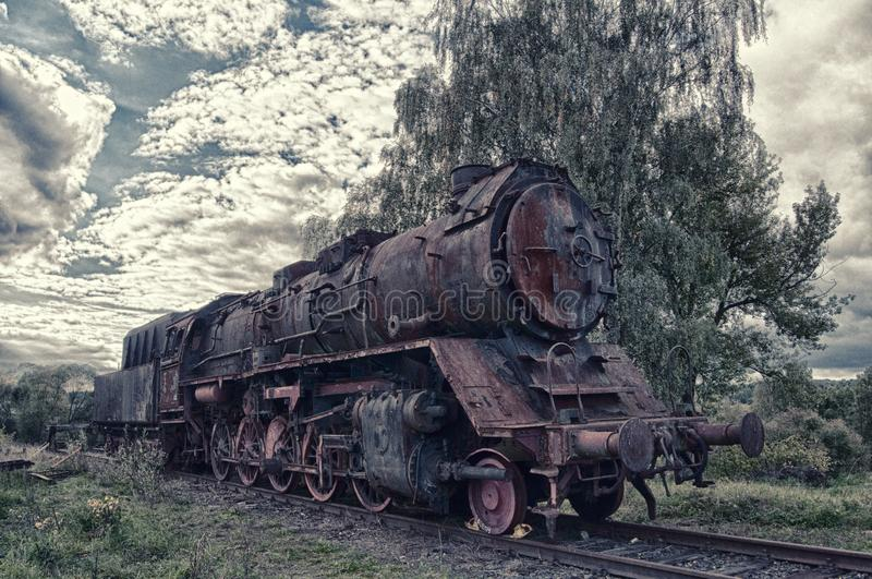 Steam engine on the railways. Old locomotive standing ahead of tree royalty free stock images