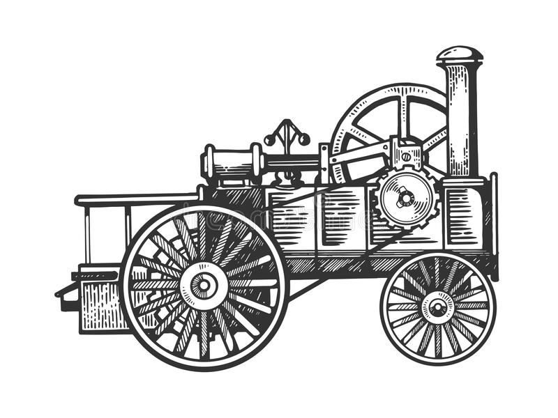 Steam engine tractor engraving vector illustration. Scratch board style imitation. Black and white hand drawn image vector illustration