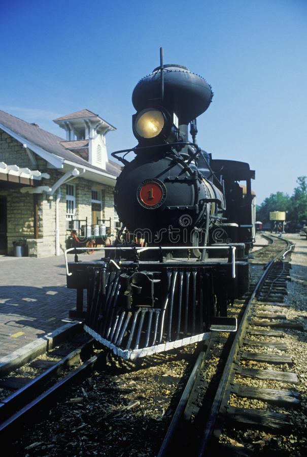 A steam engine at a train station in Eureka Springs, Arkansas stock photos