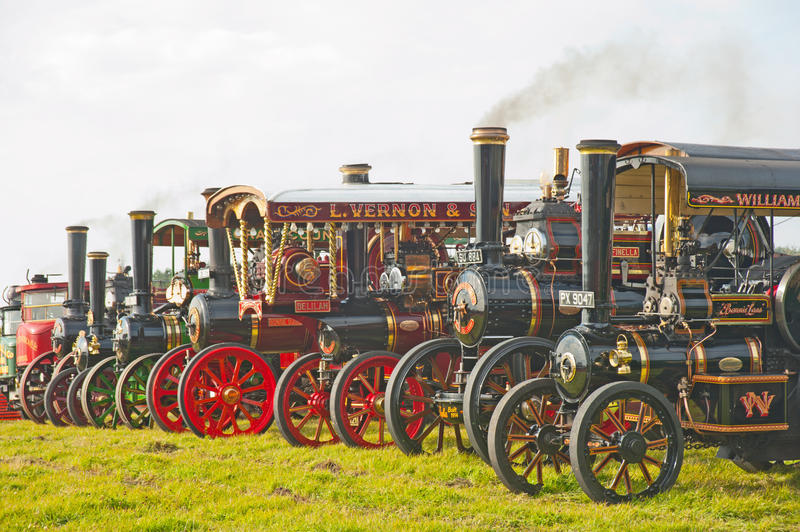 Steam engines and lorries !. Line up of early Steam Traction Engines and steam lorries at Roseisle Vintage Rally held on 23 rd September 2012 royalty free stock photo