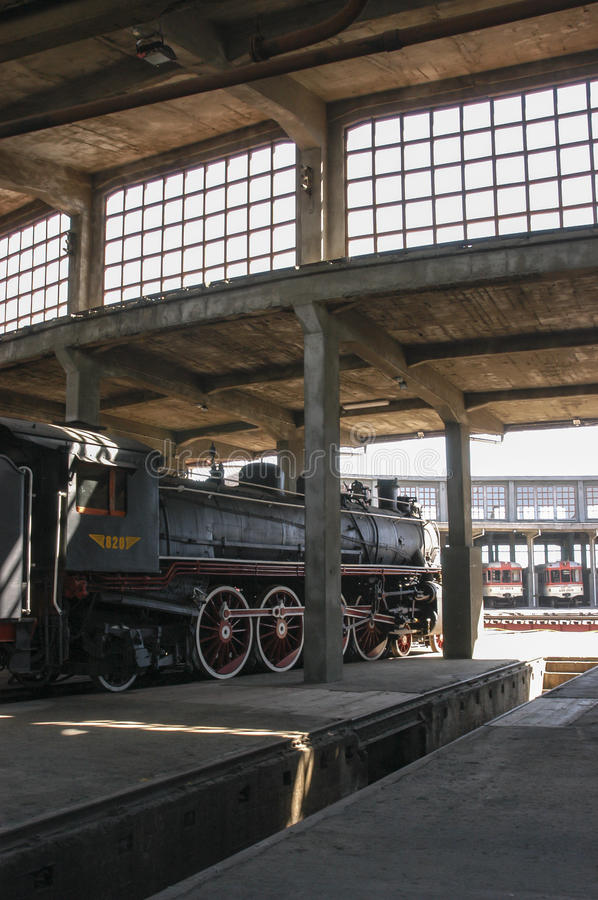 Steam engines. Old steam engines in the railway industry in Temuco Chile stock photo