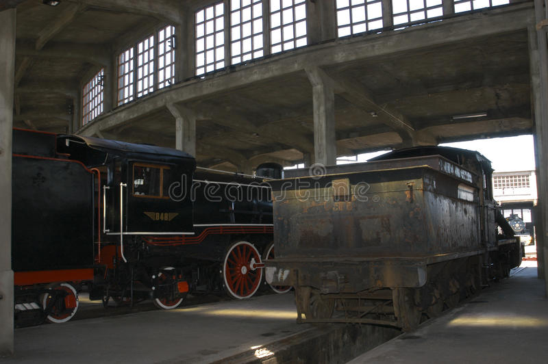 Steam engines. Old steam engines in the railway industry in Temuco Chile stock photos