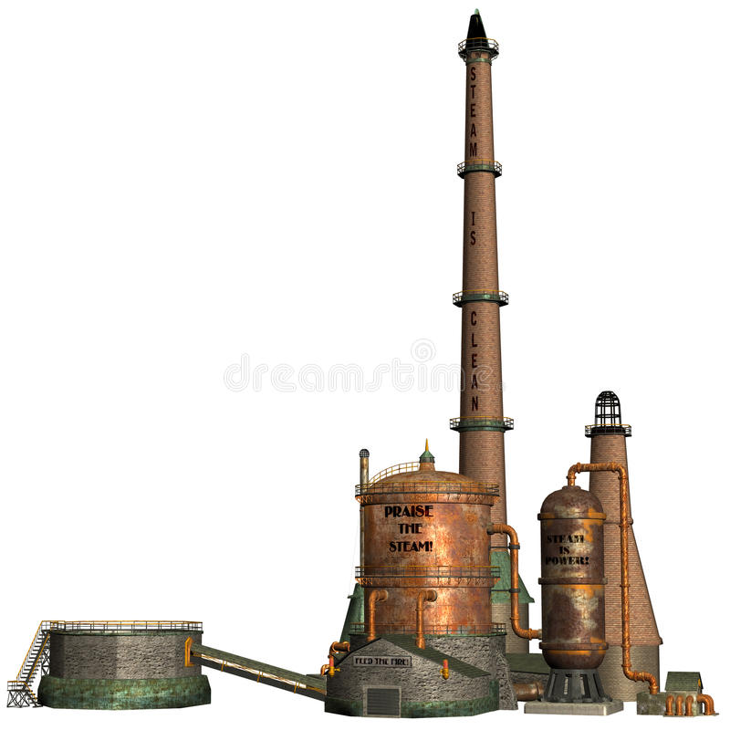 Steam factory. 3D render of an old steam factory royalty free illustration