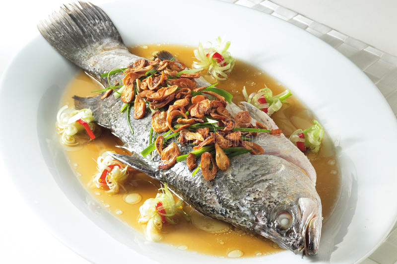 Steam fish. A plate of simple steamed fish