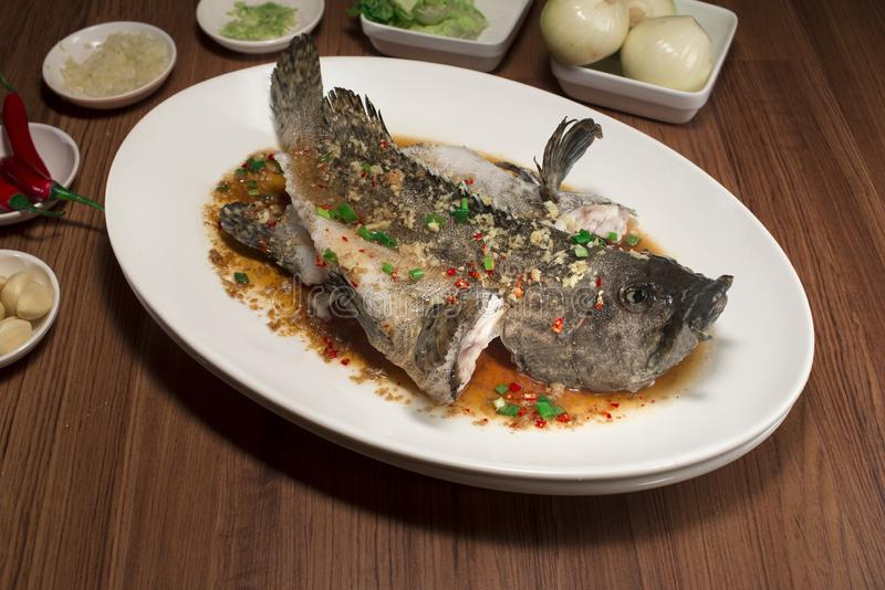 Steam Fish and ginger soya sauce on dish royalty free stock images