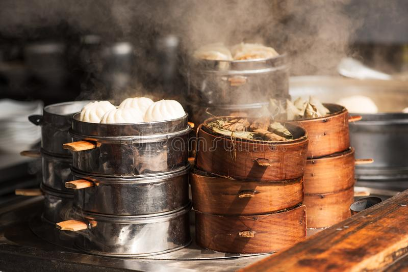 Steam food in a street market in china. Steam food in a street market in Chengdu, China royalty free stock images