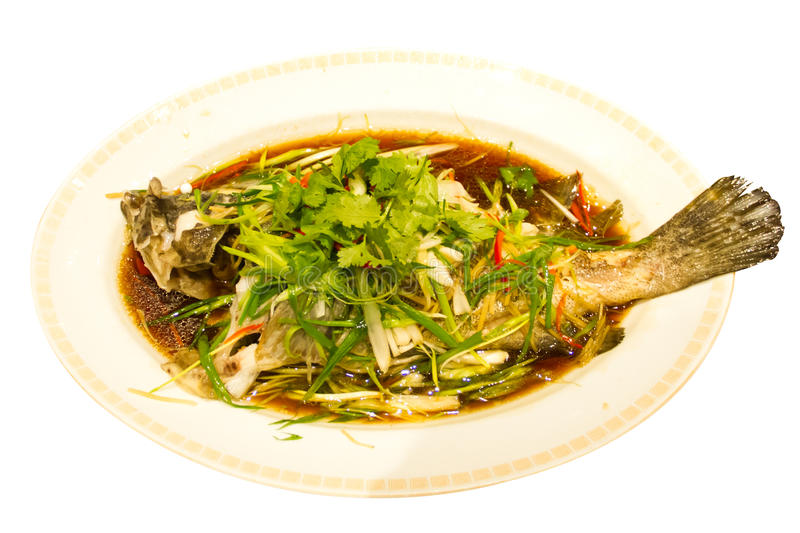 Steam grouper in soy sauce stock photo