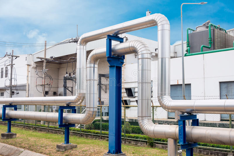 Steam insulation and loop pipeline, Steam pipe.supply royalty free stock photography