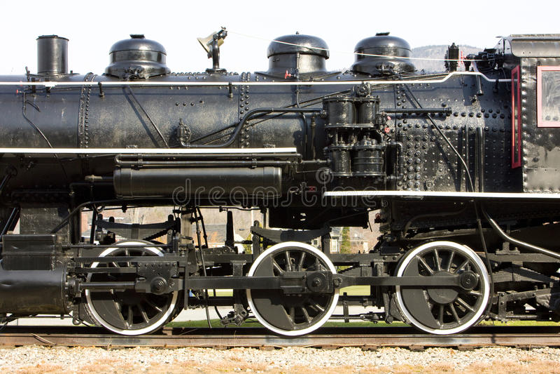 Steam locomotive. Detail of steam locomotive, Railroad Museum, Gorham, New Hampshire, USA stock photos