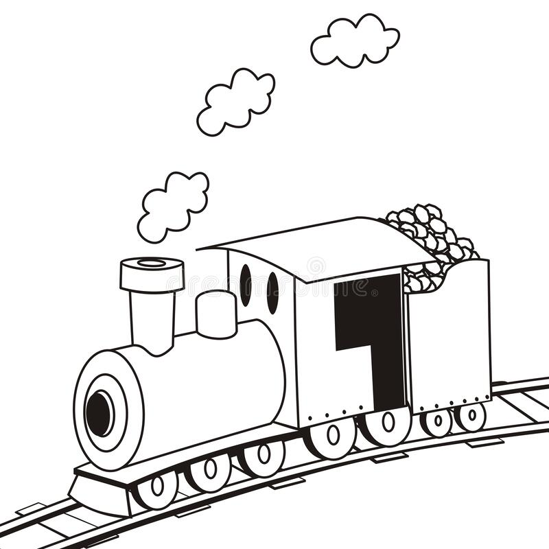 Locomotive, coloring book stock vector. Illustration of ...