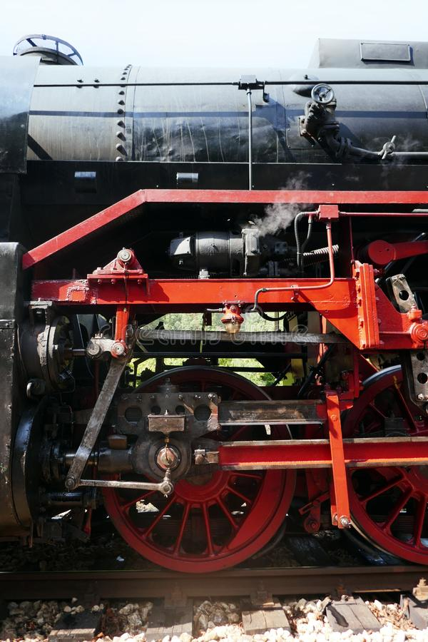 Steam locomotive detail on royalty free stock photos