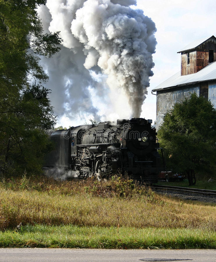 Steam locomotive and elevator stock photography