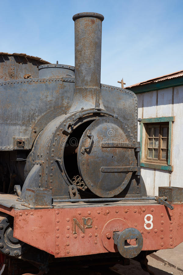 Steam Locomotive at the Humberstone Saltpeter Works royalty free stock photography