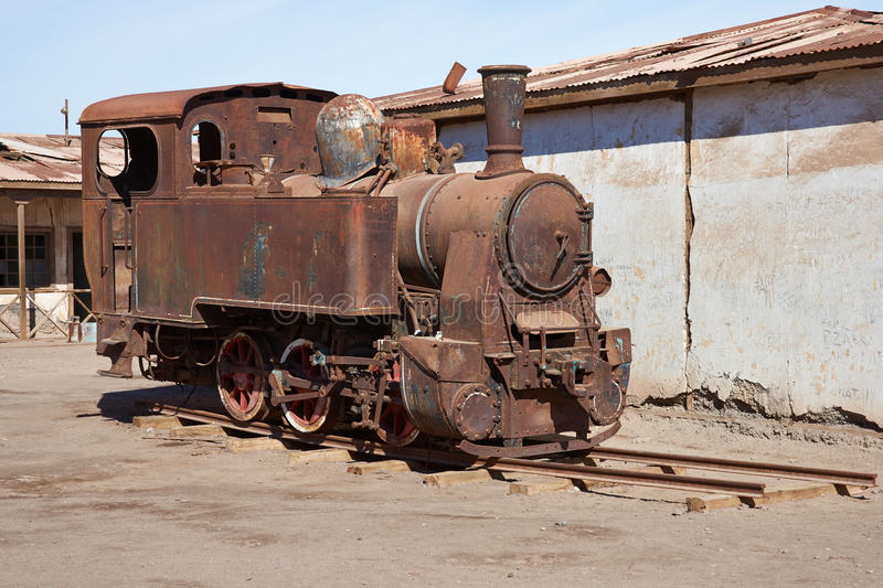 Steam Locomotive at the Humberstone Saltpeter Works royalty free stock image