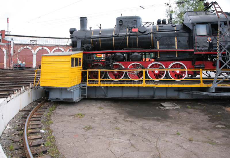 Steam locomotive in museum by side stock photography