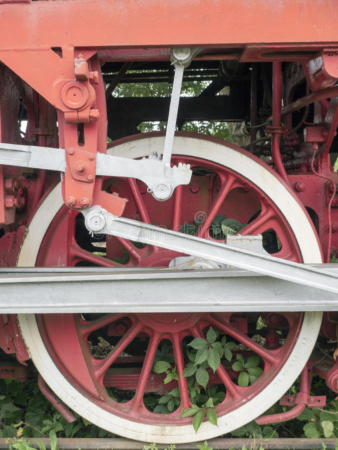 Steam locomotive power wheels detail, Resita, Romania. Steam locomotive power wheels detail at the locomotives museum located in Resita, Romania. The museum was royalty free stock photos