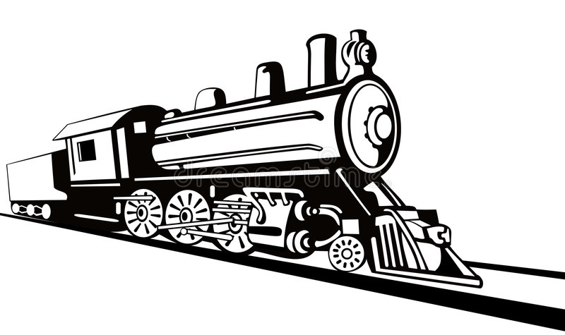 Steam locomotive stencil style royalty free illustration