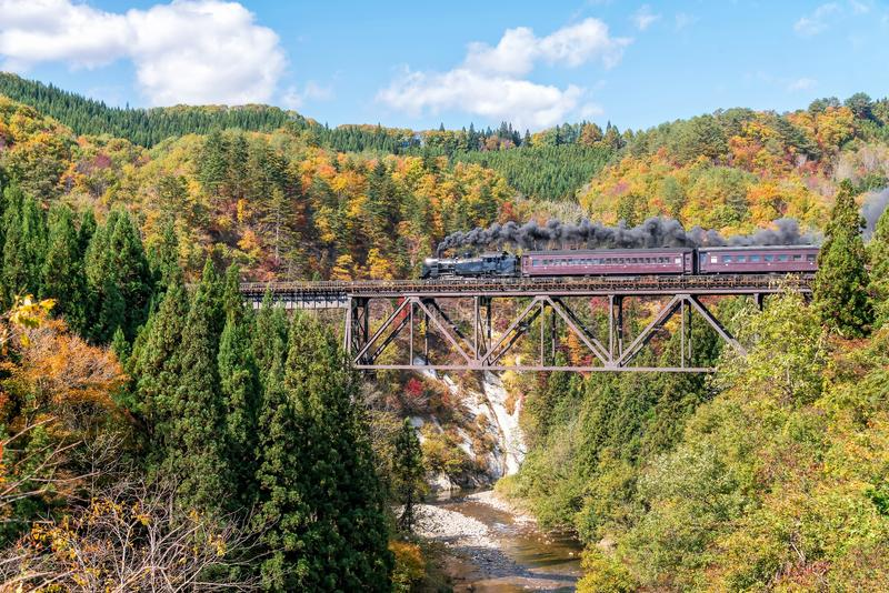 Steam locomotive on tadami line in autumn season. royalty free stock photos