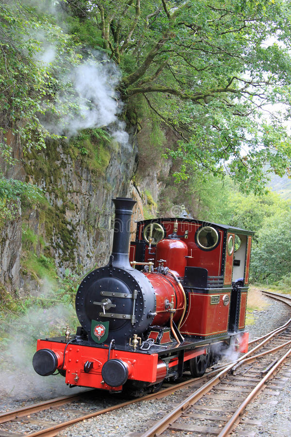 Steam locomotive on Talyllyn railway in Wales. Dolgoch (steam locomotive) at Nant Gwernol on the Talyllyn narrow-guage railway in Wales royalty free stock images