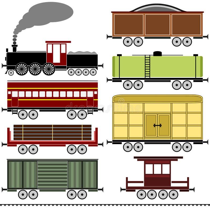 Steam Locomotive Train Set royalty free illustration