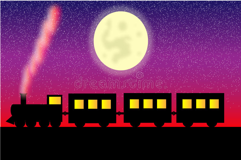 Steam locomotive with wagons vector illustration