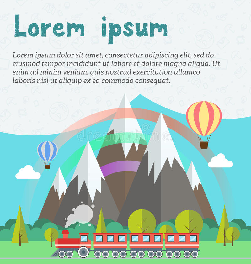 Steam locomotive and wagons on railroad track. Train with forest, rainbow, balloons and mountains background vector illustration