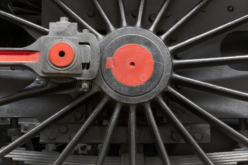 Steam locomotive wheel and connecting rod detail royalty free stock image