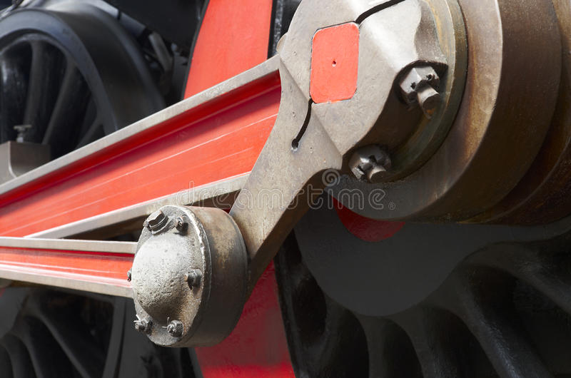 Steam locomotive wheel and connecting rod detail royalty free stock photos
