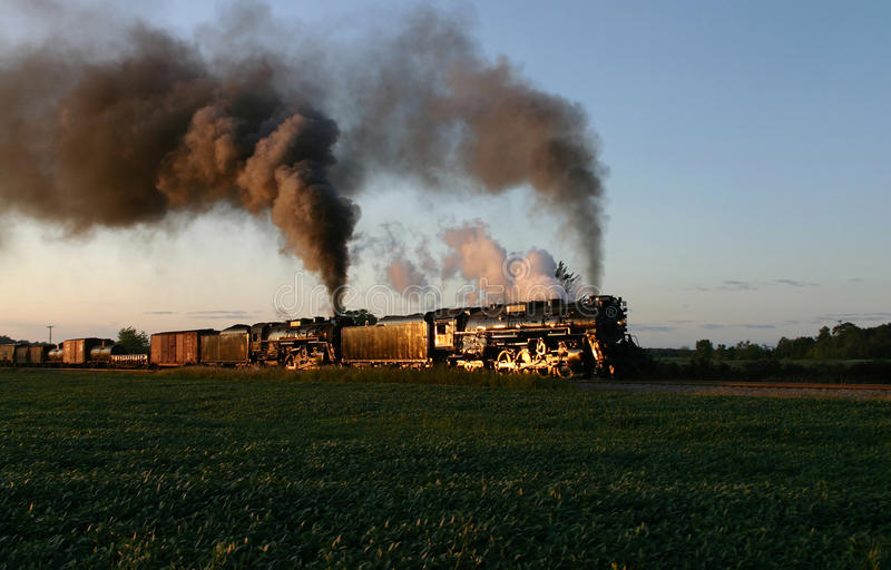 Steam Locomotives at Sunset stock photo