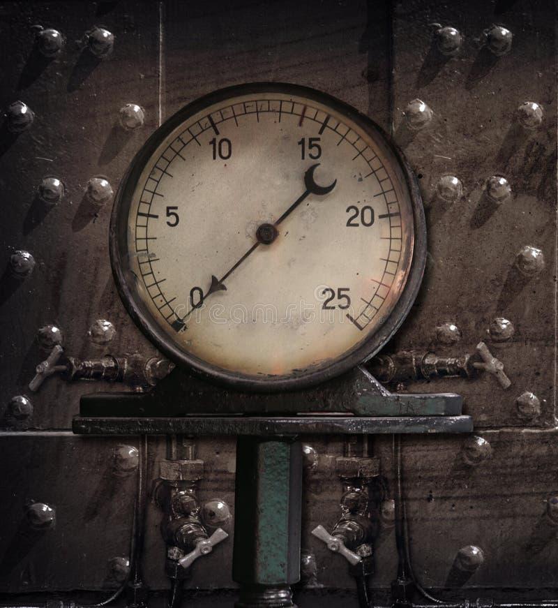 Steam manometer. On grunge background stock image