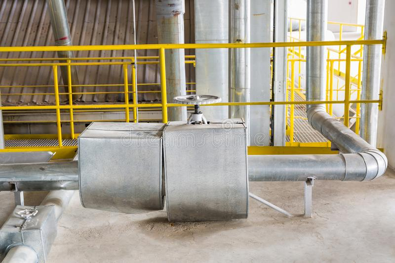 Steam pipeline and valve royalty free stock photo