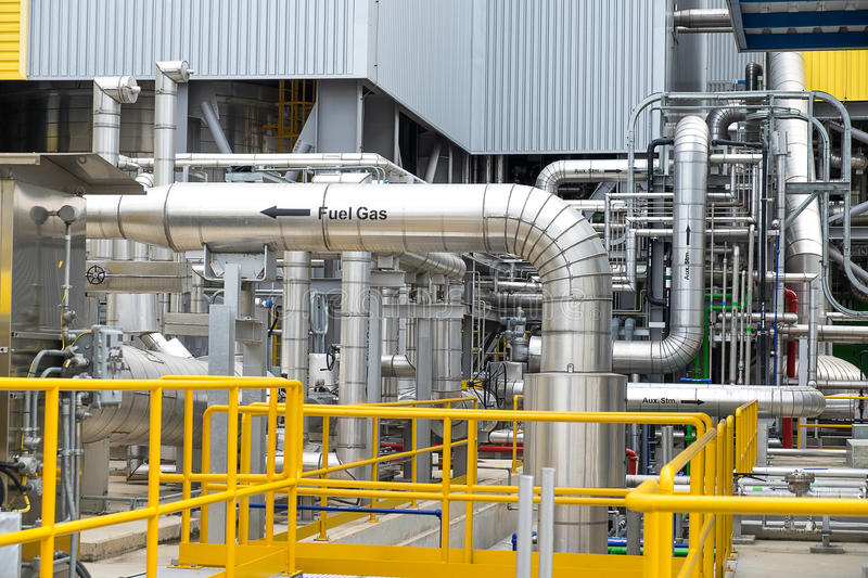 Steam piping with thermal insulation royalty free stock photo
