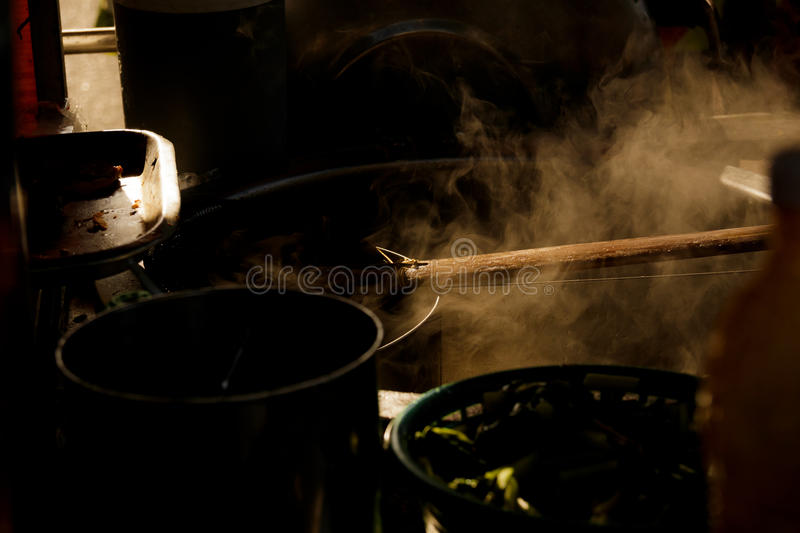 Steam on pot for boil noodles. Hot steam on pot for boil noodles royalty free stock photo