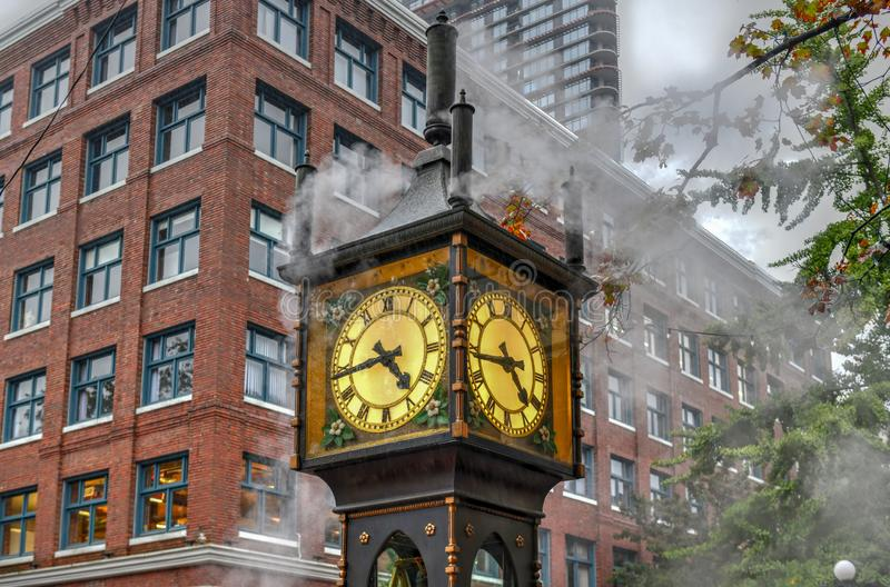 Steam-powered clock found at Gastown. A national historic site located in Vancouver, British Columbia stock image