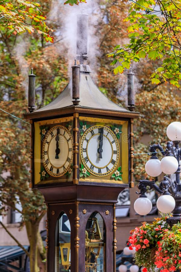 Steam clock in Gastown in Vancouver British Columbia Canada. Steam-powered clock at Gastown, a national historic site in Vancouver, British Columbia British royalty free stock photo