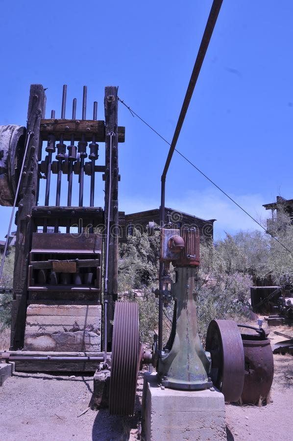 Steam Powered Stamp Mill At Goldfield Arizona. Gold bearing rock had to be broken up as part of the gold extraction process. The first step would be to use a stock image