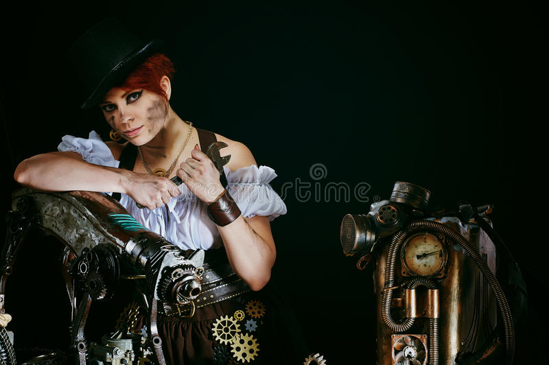 Steam-punk girl's portrait. Steam-punk girl with her mechanical pet royalty free stock image