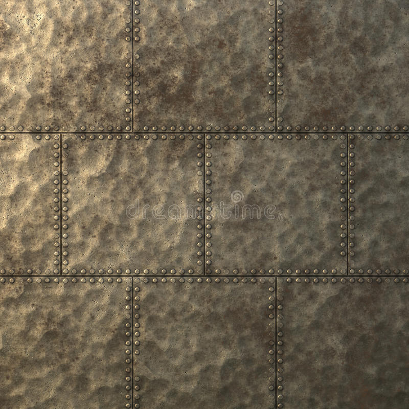 Metal Plate Or Armour Texture With Rivets Stock Image