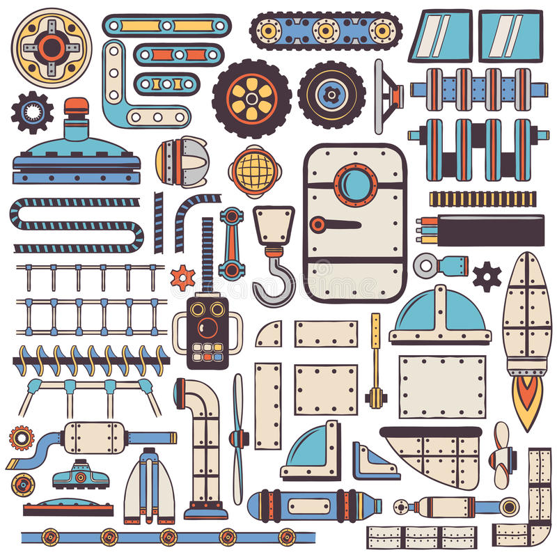 Steam punk spare parts. Doodle steam punk spare parts set for machinery construction stock illustration