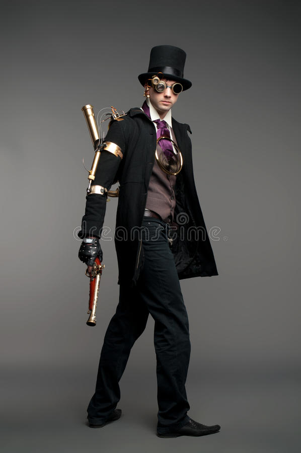 Steam-punk stylized caharacter stock image