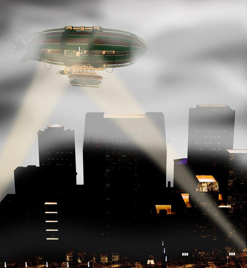 Steam punk zeppelin breaking through fog royalty free illustration