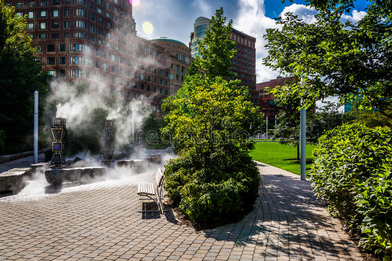 Steam rising from the ground in a park in Boston, Massachusetts. Steam rising from the ground in a park in Boston, Massachusetts stock images